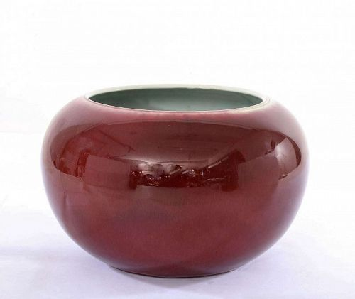 Chinese Oxblood Flambe Sang Boeuf Langyao Style Porcelain Scholar Bowl