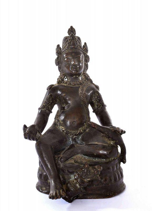 19C Chinese Nepal Tibetan Bronze Figure of Yellow Jambhala �财�