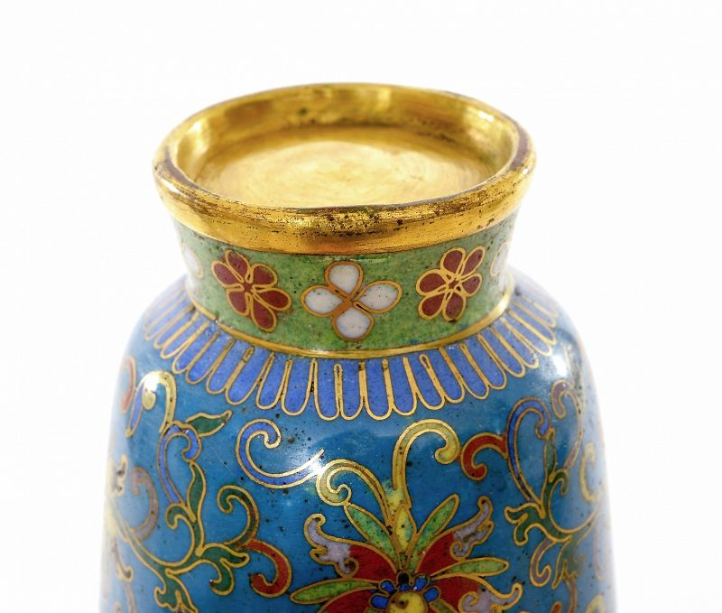 19C Chinese Gilt Cloisonne Enamel Vase Flower