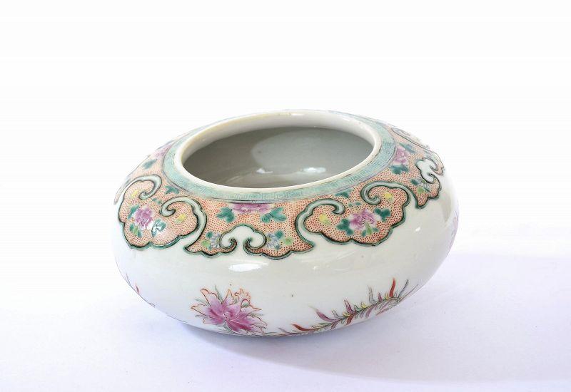 19C Chinese Famille Rose Porcelain Scholar Brush Washer Bowl Flower
