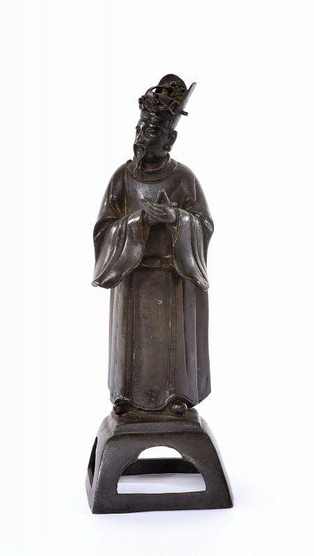 17C Chinese Bronze Scholar Figure Figurine