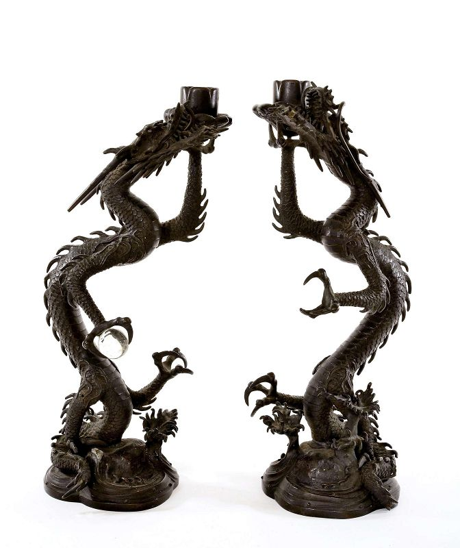 2 Japanese Bronze Dragon Candle Holder Candlestick Crystal Ball