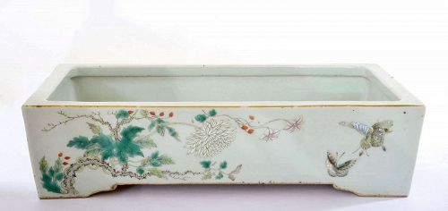 Old Chinese Famille Rose Porcelain Planter Pot Butterfly Flower