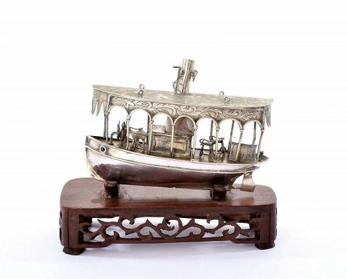 Old Chinese Sterling Silver Steamboat Ship Wood Stand