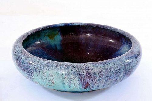 Old Chinese Ox Blood Flambe Glaze Scholar Porcelain Brush Washer Bowl