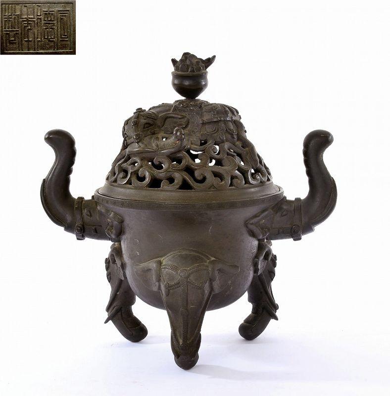 19C Chinese Bronze Censer Incense Burner Elephant Xuande 2800 gram