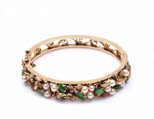 Chinese 14K Gold Pearl and Jadeite Carved Bead Bangle Bracelet