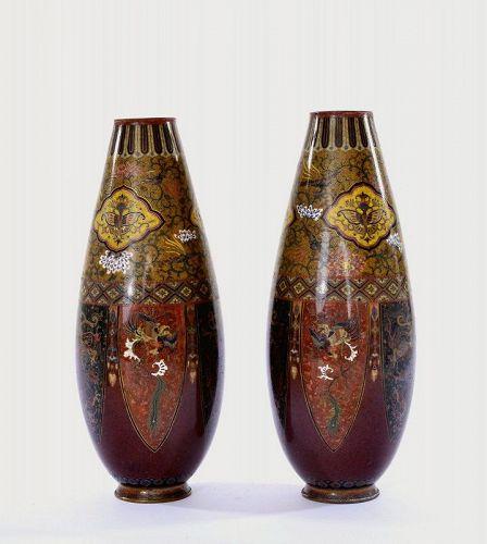 2 Old Japanese Cloisonne Enamel Dragon & Phoenix Vase
