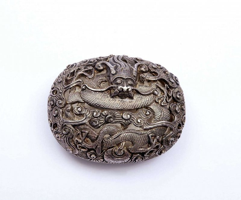 19C Chinese Solid Silver Dragon Belt Buckle Mk