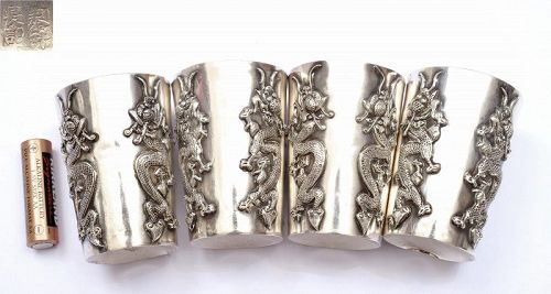 4 Old Chinese Silver Repousse Whiskey Beaker Cup Dragon MK