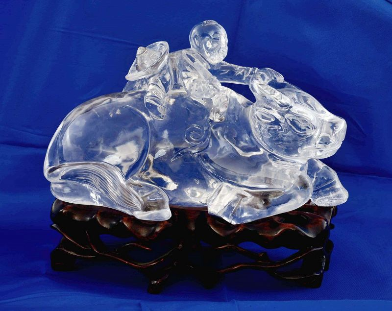 19C Chinese Rock Crystal Carved Cowboy Buffalo Figure Wood Stand