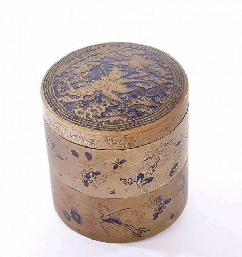Chinese White Copper Paktong Enamel Round Scholar Box Fisherman