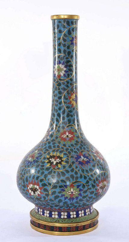 19C Large Chinese Gilt Cloisonne Enamel Vase Flowers