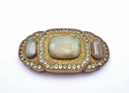 19C Chinese Gilt Bronze Belt Buckle Jadeite Carved Carving Plaque