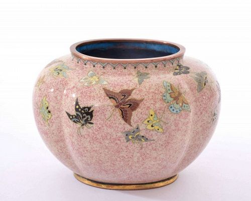 Old Japanese Cloisonne Enamel Shippo Pot Jar Vase Butterfly