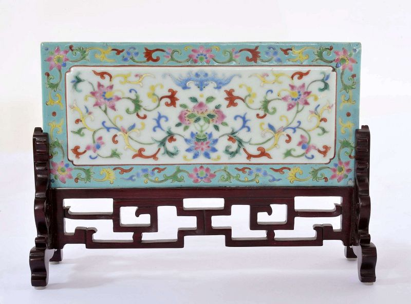 Early 19C Chinese Famille Rose Porcelain Scholar Table Plaque Screen