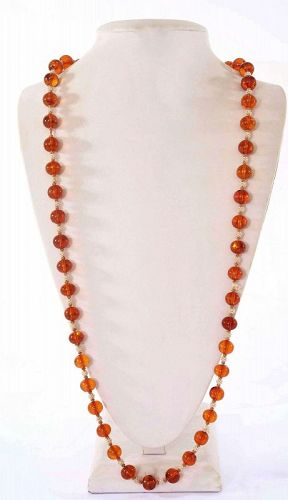 Old Chinese Natural Amber & Seed Pearl Carved Carving Bead Necklace