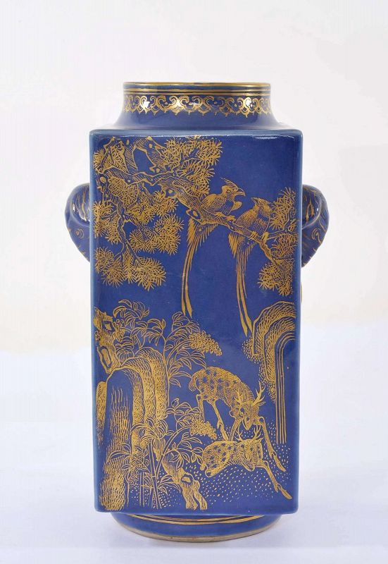 19C Chinese Gilt Decorated Powder Blue Glaze Porcelain Square Vase Mk