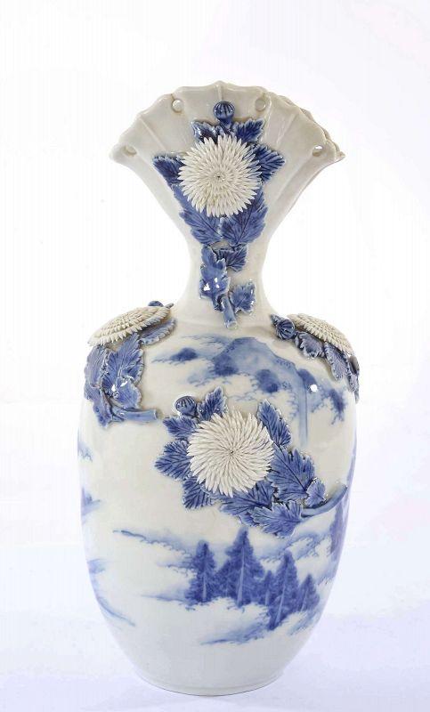 Old Japanese Blue & White Hirado Porcelain Relief Chrysanthemum Vase
