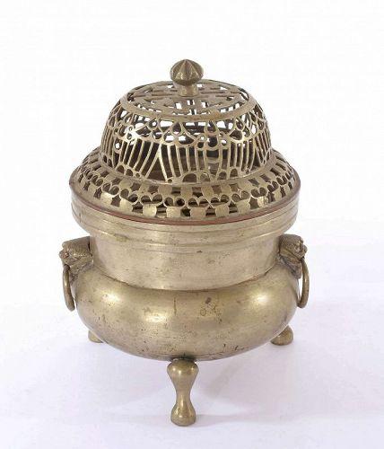 1930's Chinese Paktong White Copper Incense Censer Clock Burner