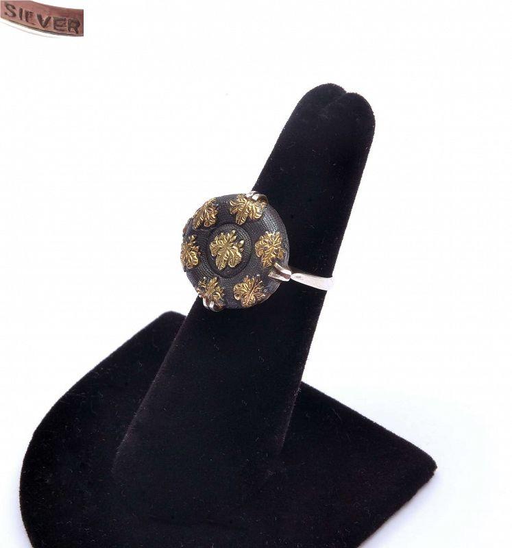 Japanese Solid Silver Mixed Metal Sword Menuki Shakudo Ring Marked