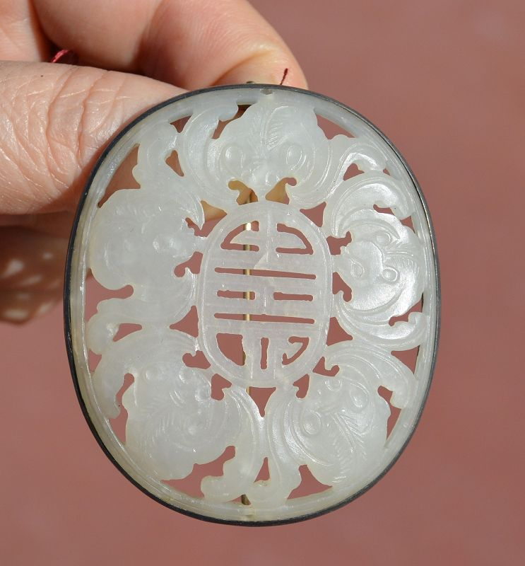 19C Chinese Solid Silver White Jade Carved Plaque Bat Pin Brooch