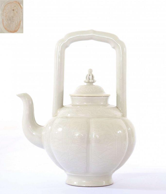 Japanese White Glaze Incised Porcelain Teapot Fish Style Aoki Mokubei