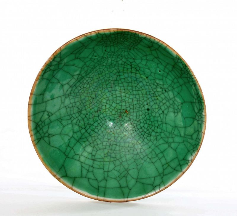 1930's Chinese Green Crackle Monochrome Ge Guan Type Tea Bowl