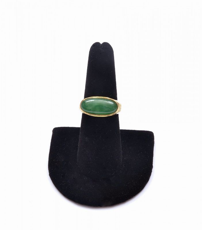 Chinese 18K Gold Jadeite Jade Carved Carving Oval Cabochon Ring Mk GIA