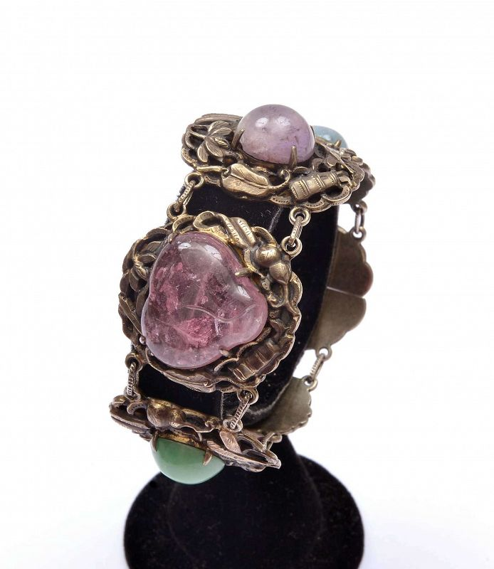 Chinese Silver Gilt Heart Shaped Tourmaline Jadeite Carved Bracelet