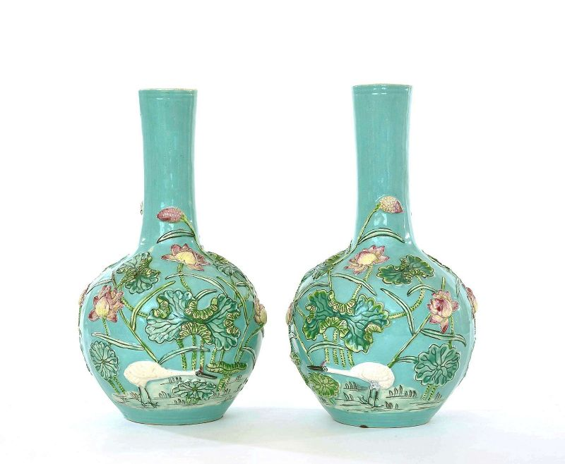 2 Chinese Turquoise Glazed Famille Rose Relief Porcelain Vase Lotus