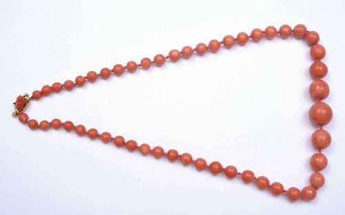 Old Chinese Coral Carved Carving Bead Necklace 14K Gold Clip 16.8 mm
