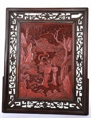 19C Chinese Cinnabar Lacquer Carved Table Screen Plaque Lady Figurine