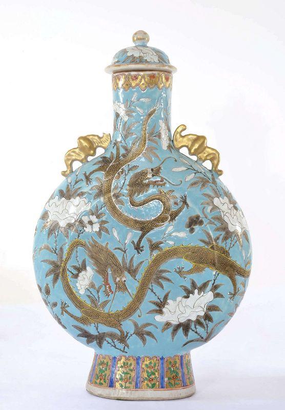 Chinese Nyonya Straits Peranakan Famille Rose Dragon  Moon Flask Vase