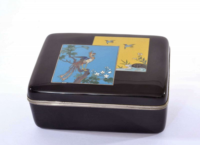 Old Japanese Cloisonne Enamel Shippo Phoenix Bird Box
