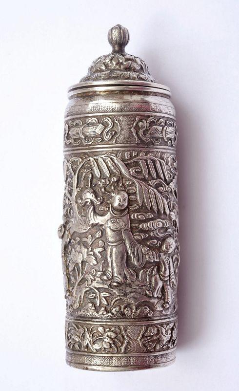 Old Chinese Sterling Silver Salt Shaker Boy Figurine