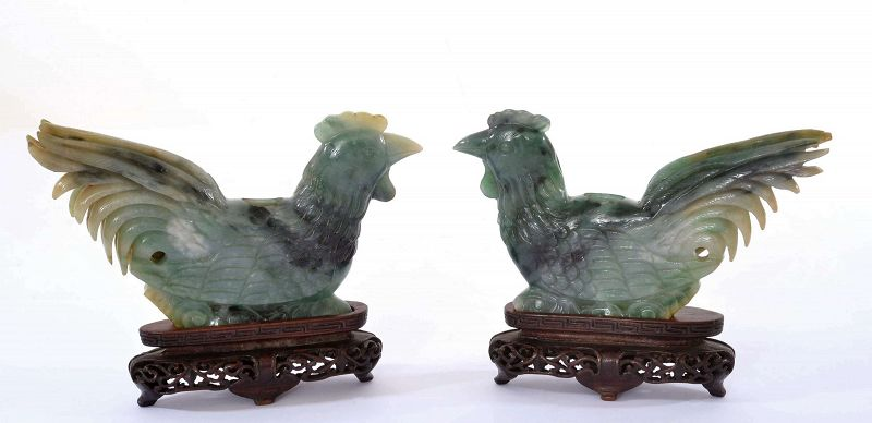 19C Chinese Jade Jadeite Carved Carving Rooster Bird Wood Stand