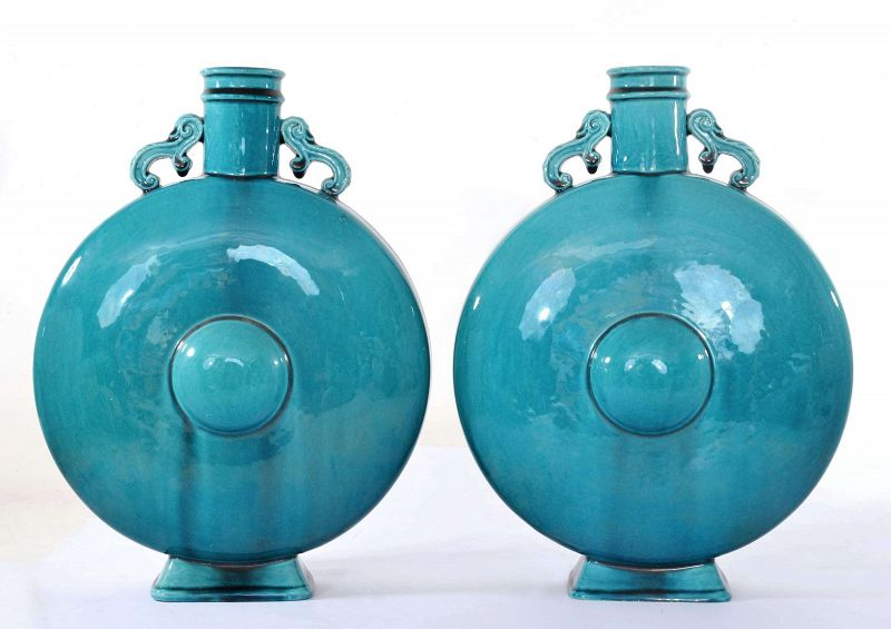 Pair of 1900's Samson Chinese Style Turquoise Glazed Moon Flask Vase