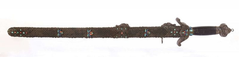 Chinese Silver Filigree Sword Coral & Turquoise & Lapis Bead Inlay