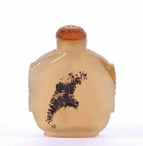 19C Chinese Agate Carved Carving Snuff Bottle