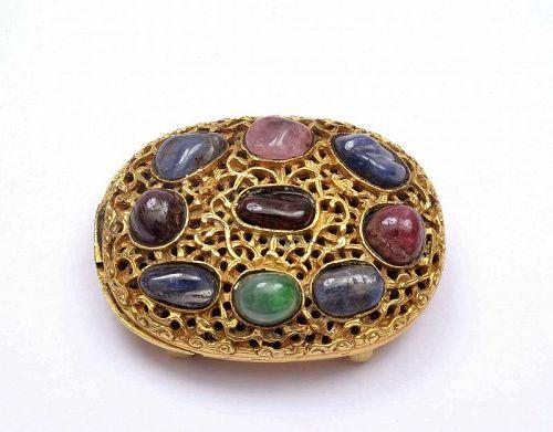 19C Chinese Gilt Bronze Jadeite Tourmaline Ruby Carved Belt Buckle