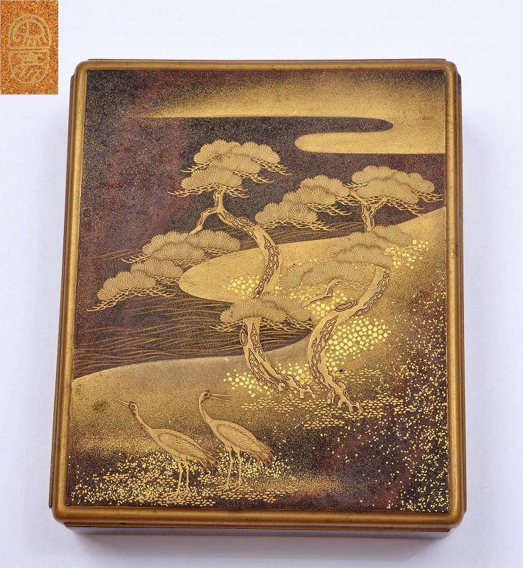 Japanese Zohiko Nishimura Makie Lacquer Box Garden Scene Crane Bird