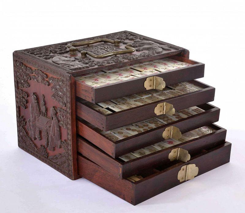 Chinese Mother of Pearl Mahjong Mah Jong Jongg Set Wood Box 144 Tile