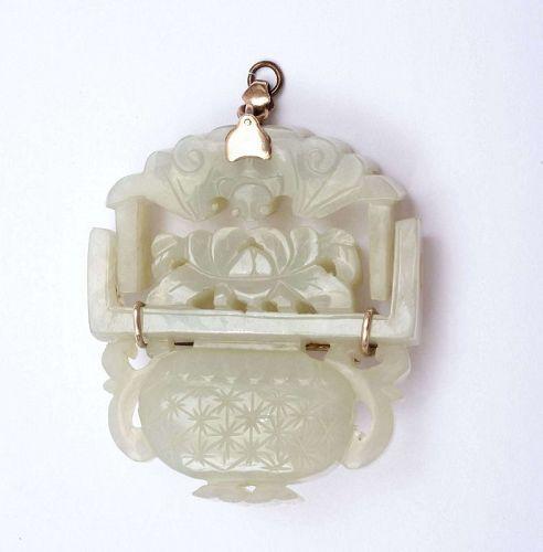 19C Chinese 10k Gold Jade Carved Carving Pin Brooch Bat Basket Mk