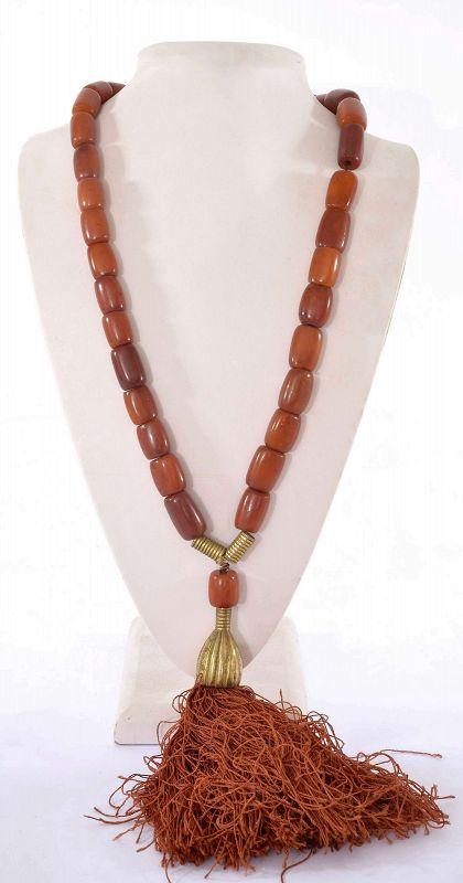 Old Egg Yolk Butterscotch Amber Carved Prayer Rosary Bead Necklace
