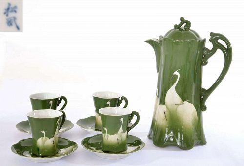 9 pieces Japanese Shofu Katei Studio Egret Porcelain Tea Set Teapot