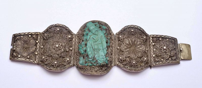 19C Chinese Silver Filigree Turquoise Carved Plaque Bracelet Bangle