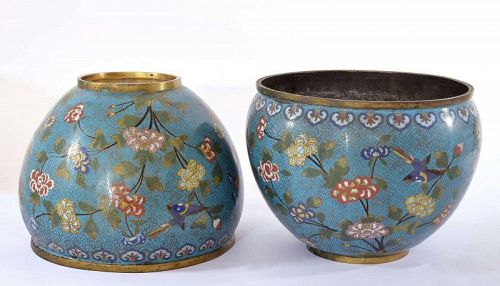 Pair of 19C Chinese Cloisonne Enamel Bowl Pot Bird Flower