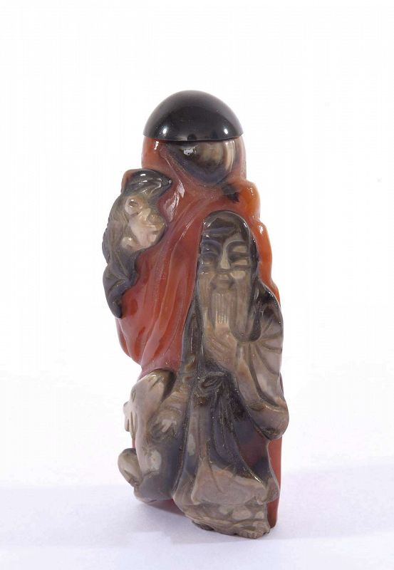 19C Chinese Agate Carnelian Carved Relief Snuff Bottle Old Sage & Bat