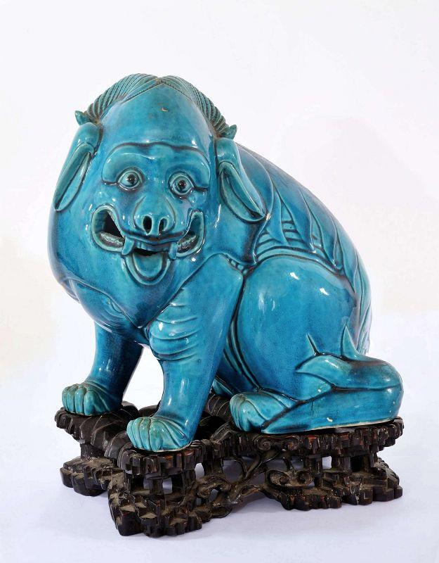 19C Chinese Turquoise Glaze Porcelain Fu Foo Dog Lion Wood Stand